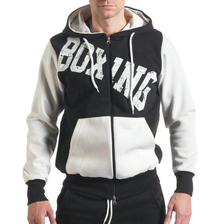 Мъжки черен суичър с надписи Boxing  it211116-111