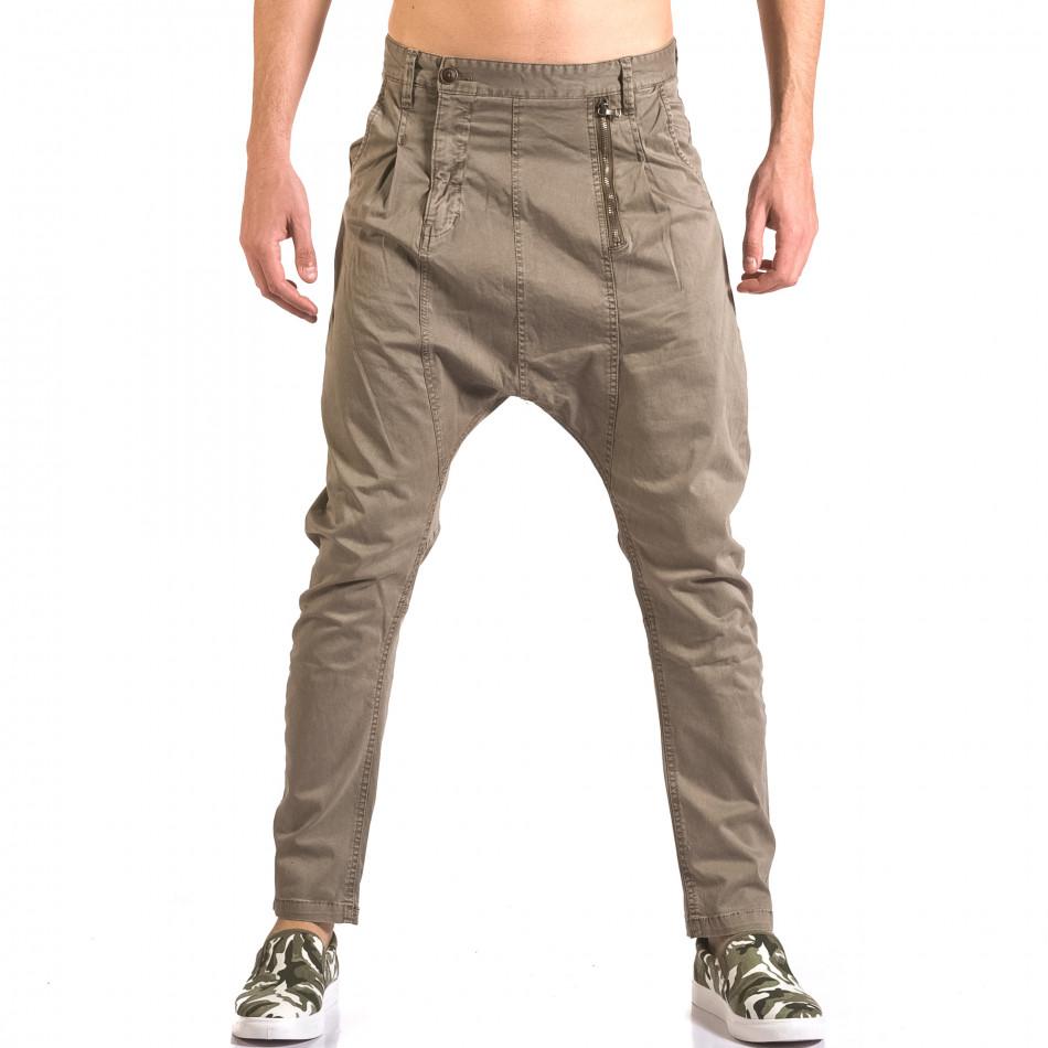 Мъжки сив панталон със смъкнато дъно и цип ca050416-54