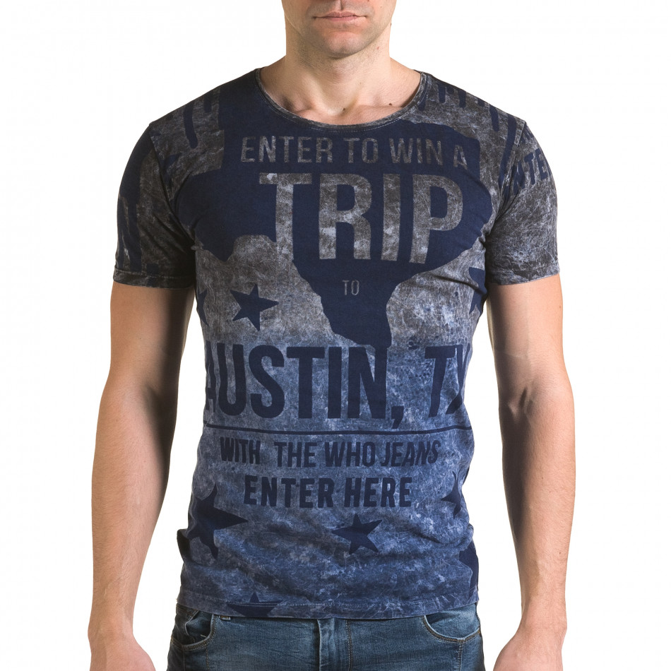 Мъжка синьо-сива тениска с надписи il120216-24