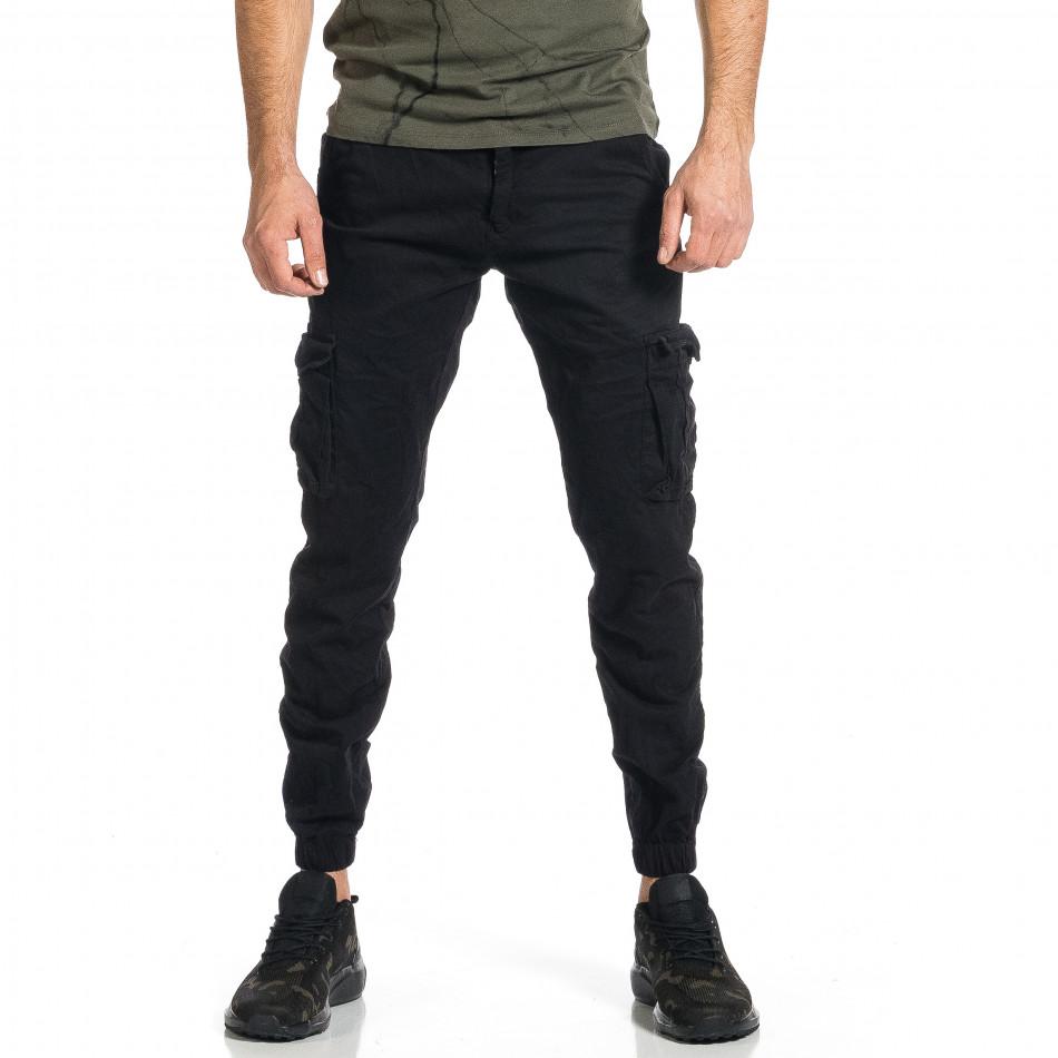 Мъжки черен карго панталон Jogger & Big Size tr270421-12