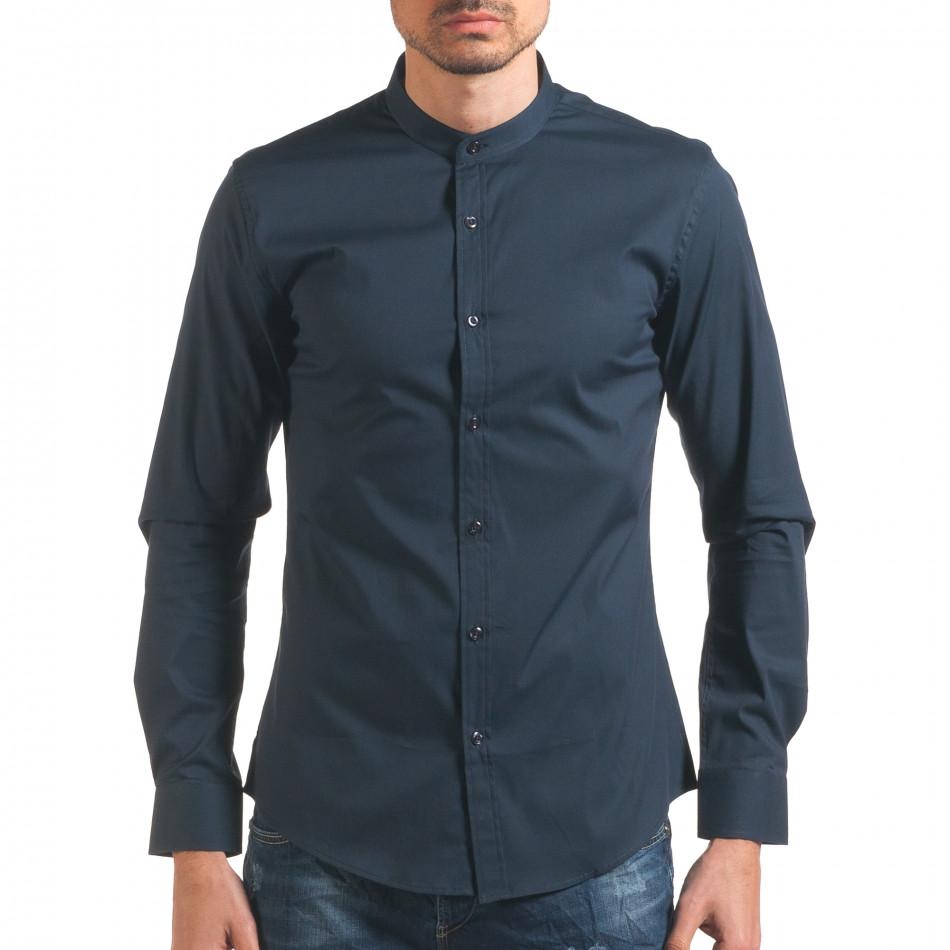 Синя мъжка риза с попска яка it250416-102