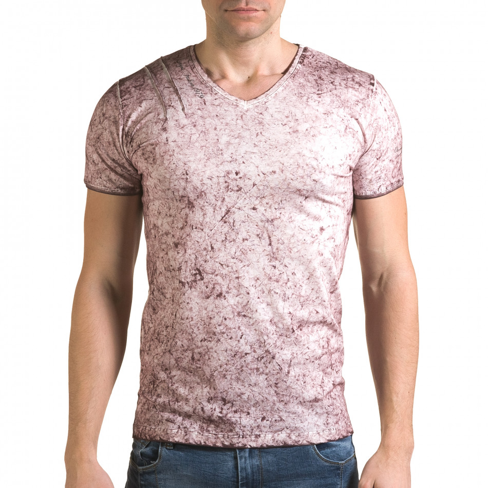 Мъжка розова тениска с избелял ефект il120216-18