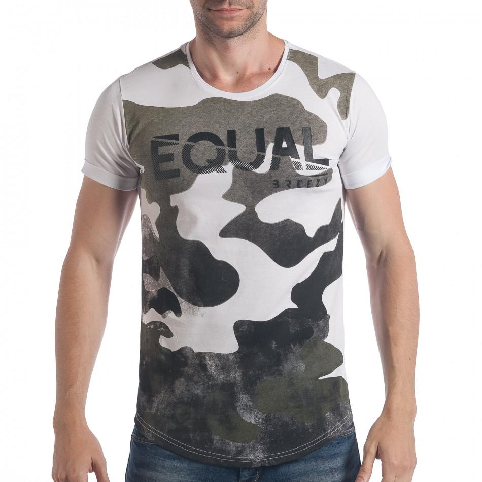 Мъжка тениска бяло-зелен камуфлаж с надпис tsf090617-24