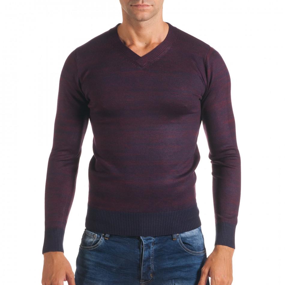 Мъжки лилав пуловер с остро деколте it170816-10