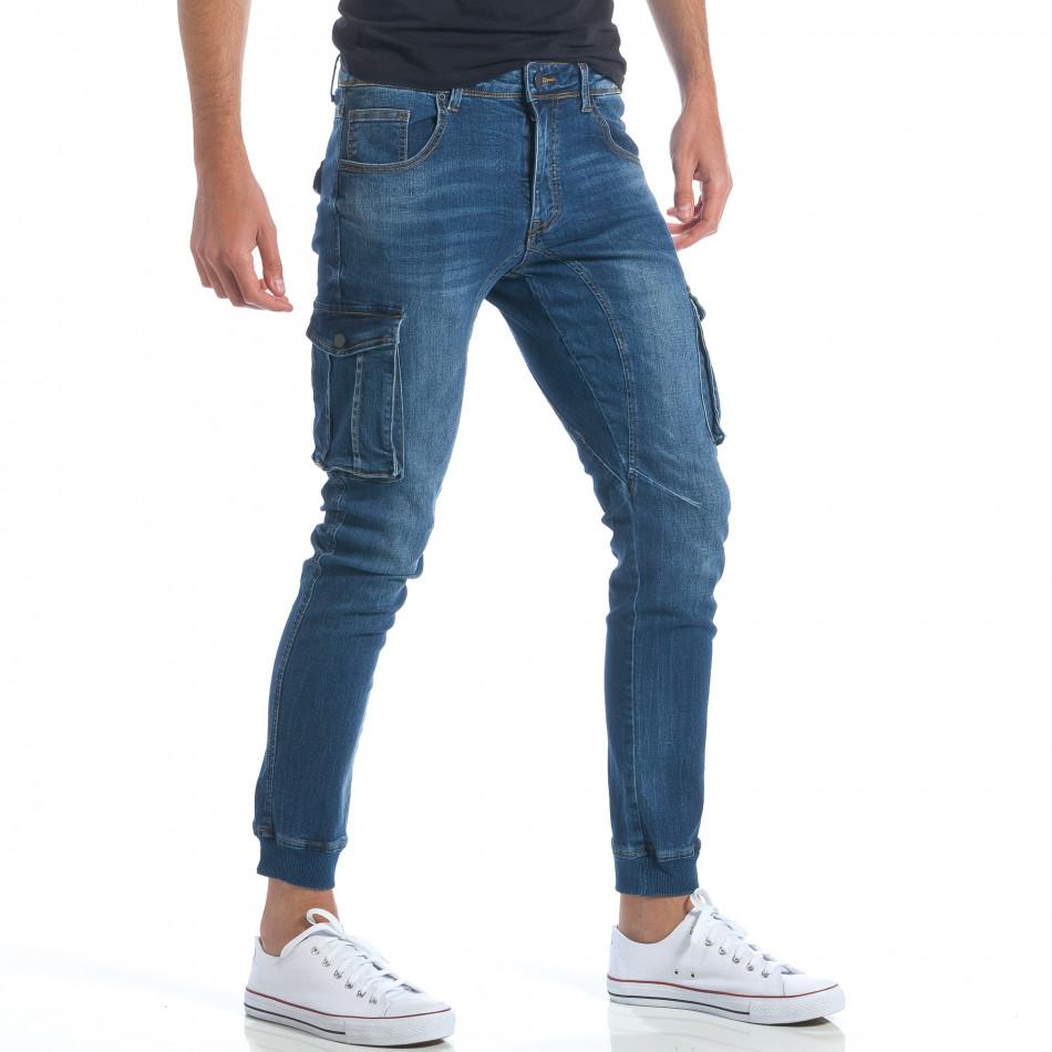 387f5bf0af0 ... Мъжки тъмно сини дънки с джобове на крачолите it190417-89 4. Outlet