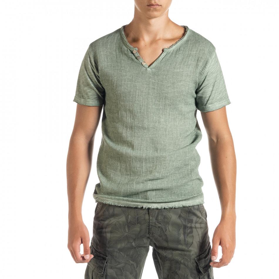 Мъжка тениска от памук и лен в зелено it010720-26