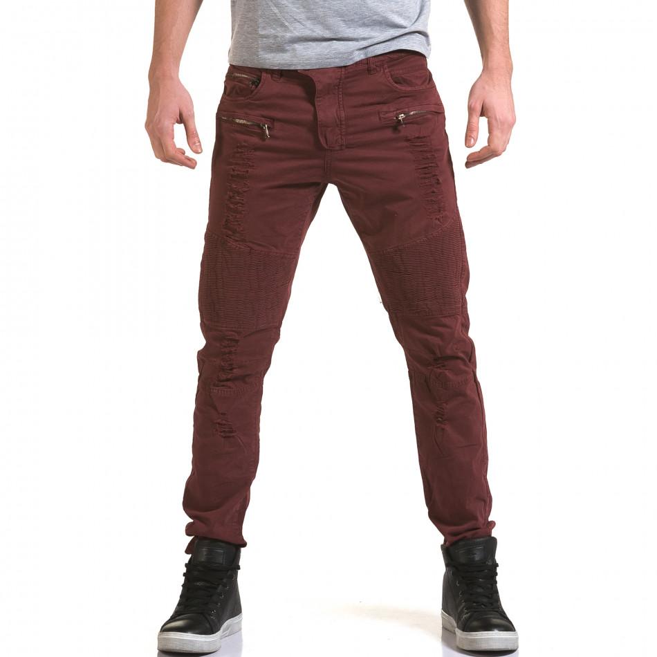 Мъжки червен панталон с хоризонтални шевове it090216-9