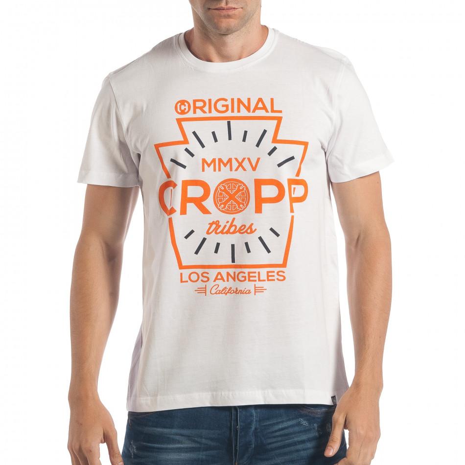 Мъжка бяла тениска с оранжев принт и надписи lp180717-163