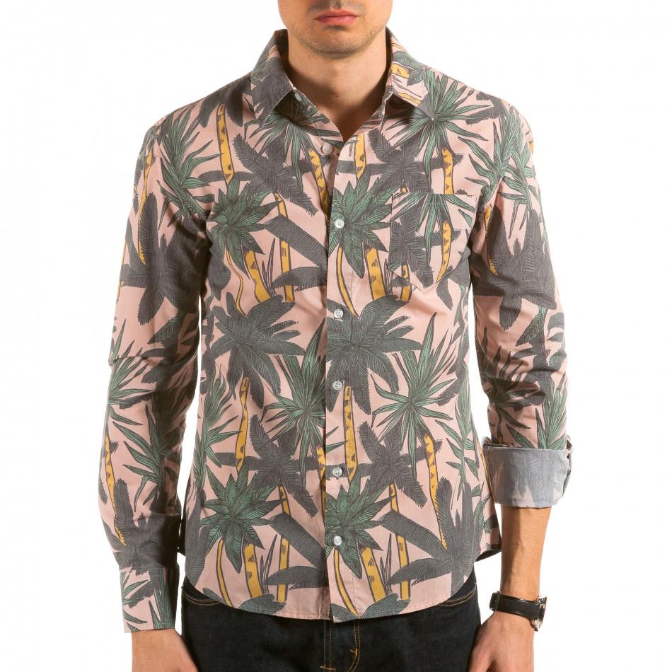 Мъжка бежова риза с принт палми il180215-187