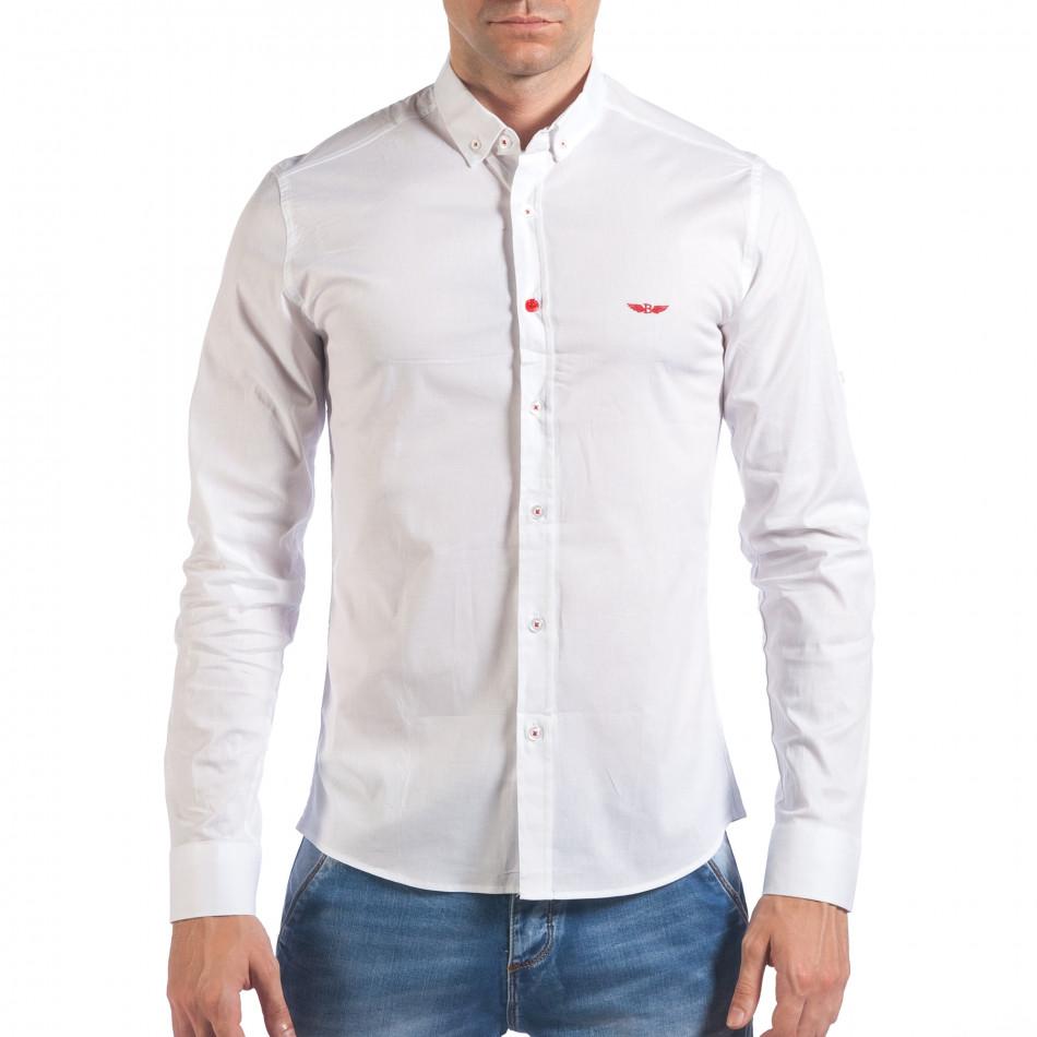 Мъжка бяла риза класически модел il060616-113