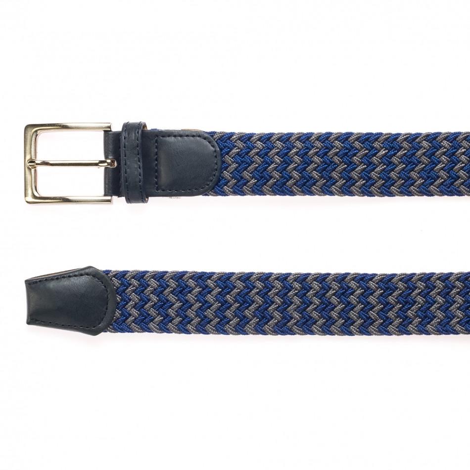 Мъжки плетен колан в сиво и синьо it250915-6
