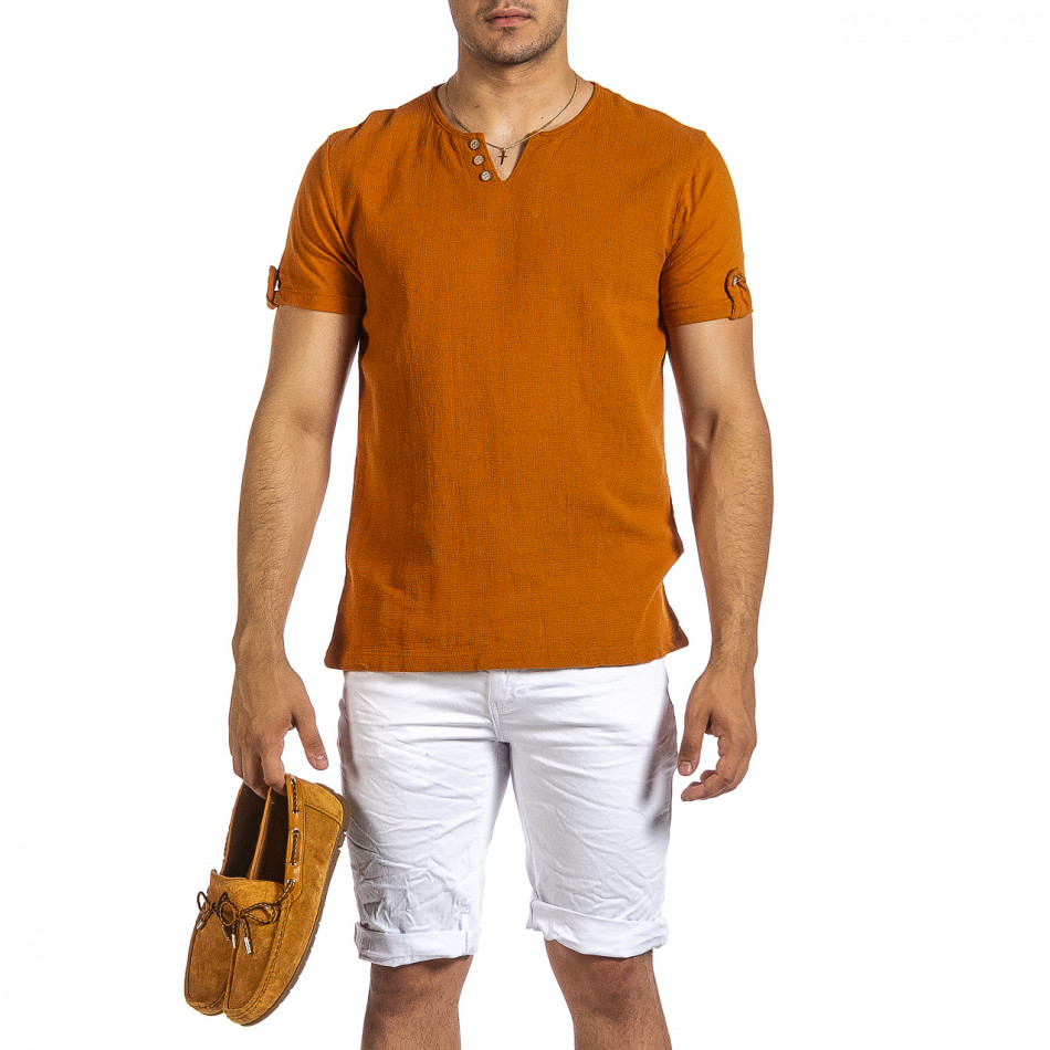 Текстурирана тениска цвят камел it240621-2