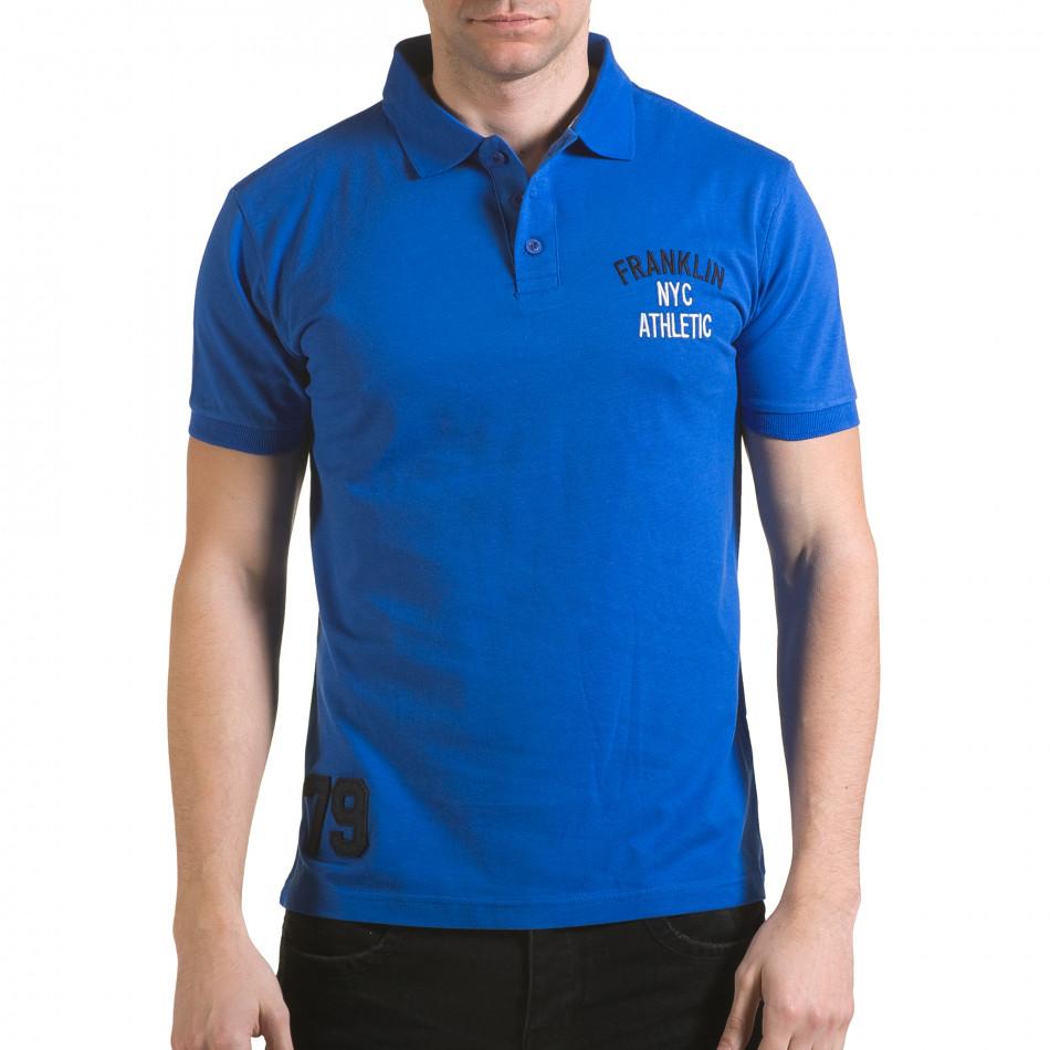 Мъжка синя тениска с яка с надпис Franklin NYC Athletic il170216-35