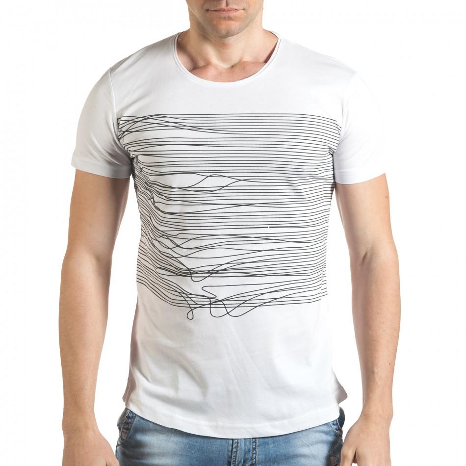 Мъжка бяла тениска с голям номер 2 на гърба il140416-3