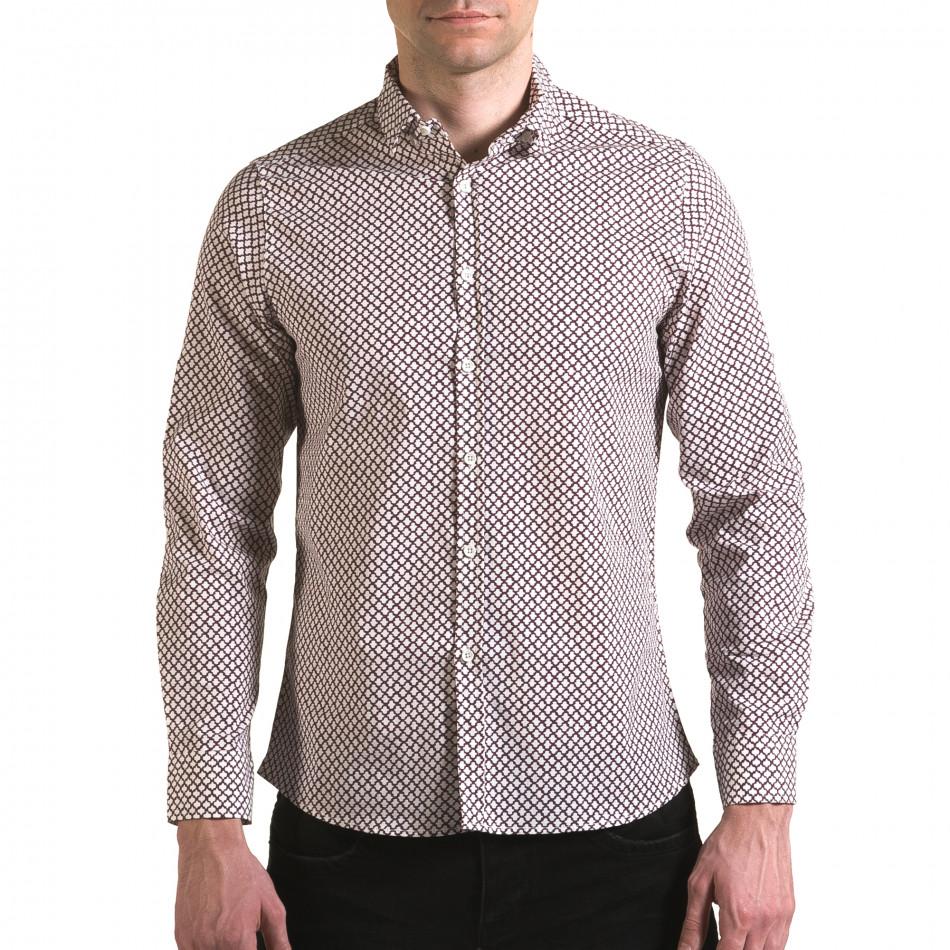 Мъжка бяла риза с червена фигурална шарка il170216-99
