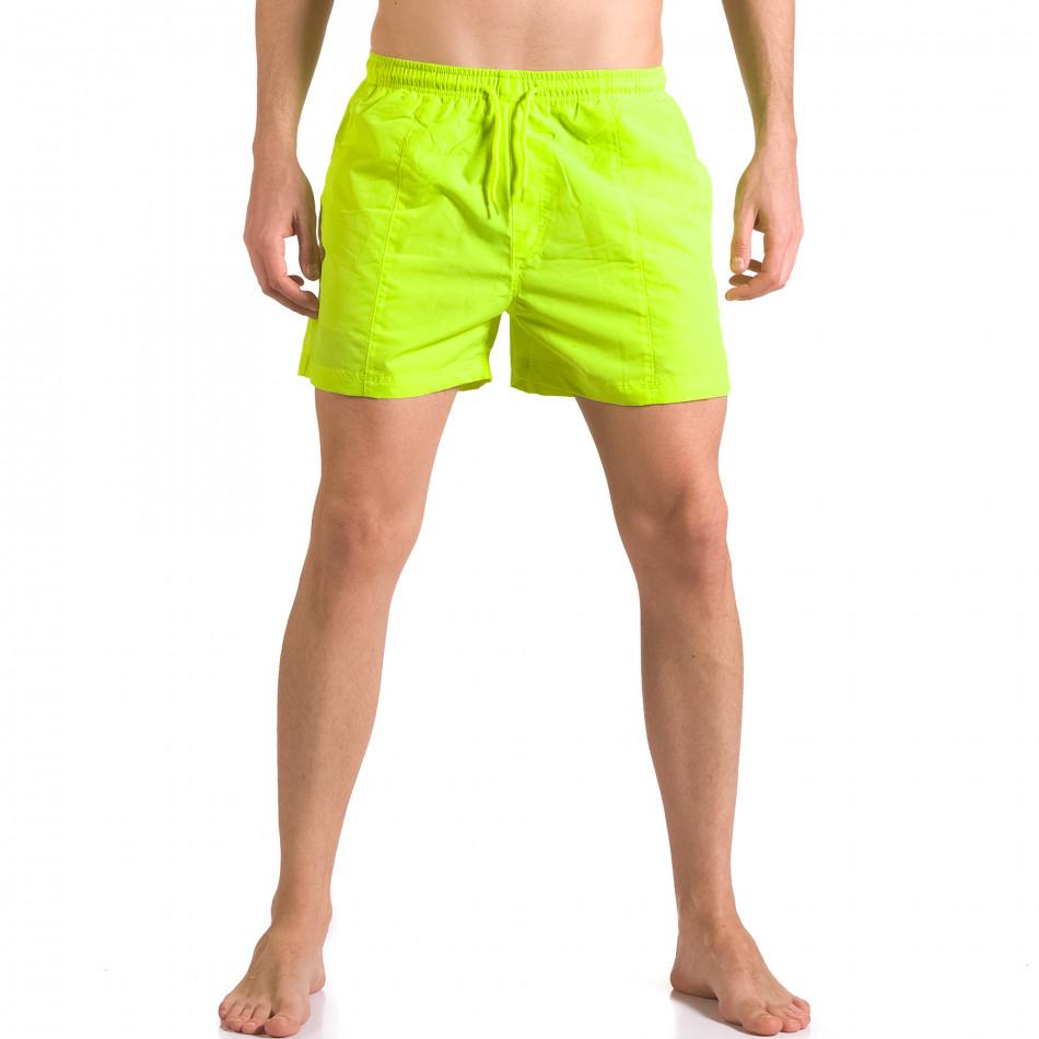 Ярко зелени мъжки бански шорти с удобни джобове ca050416-18