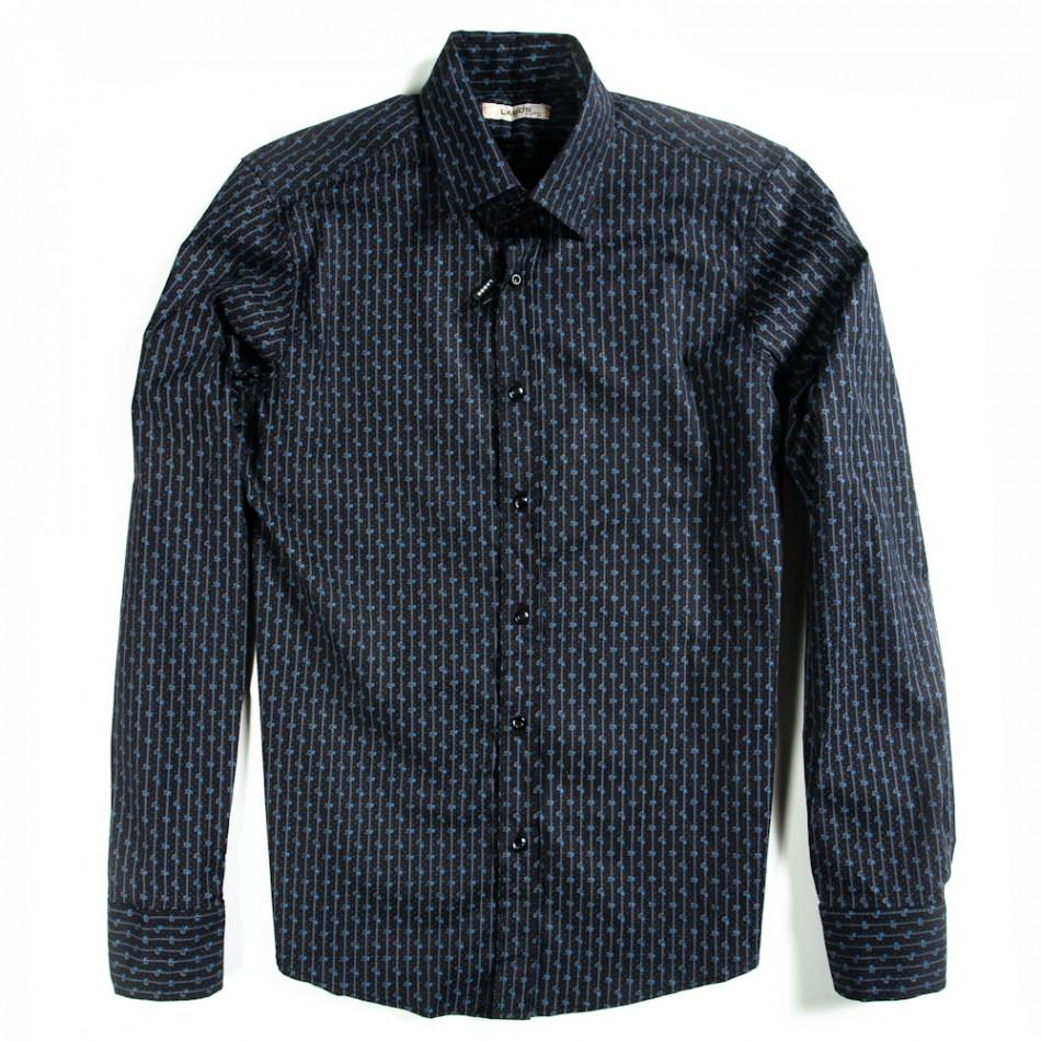 Мъжка черна риза Lagos с дискретно райе и малки цветчета 080213-3