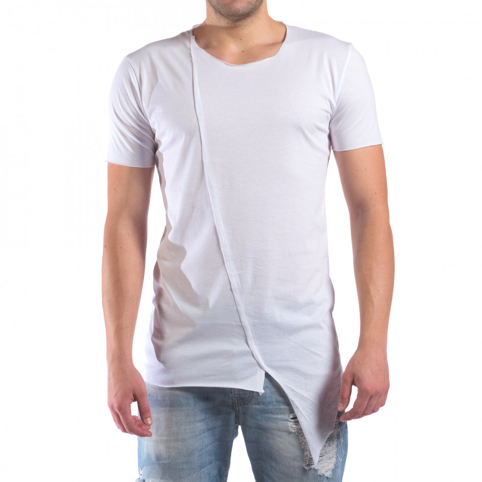 Мъжка бяла тениска с незавършени краища il210616-2