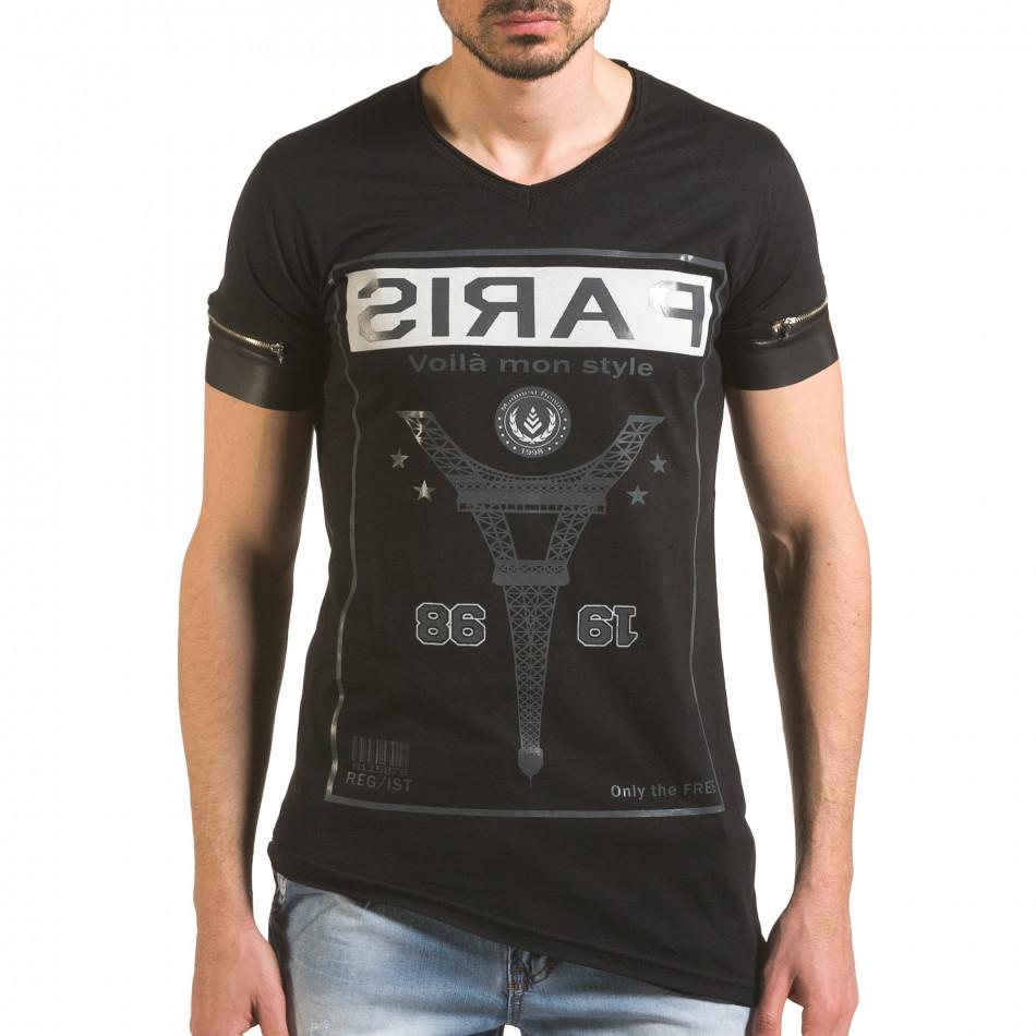 Черна тениска с ципове на ръкавите и принт tsf060416-4