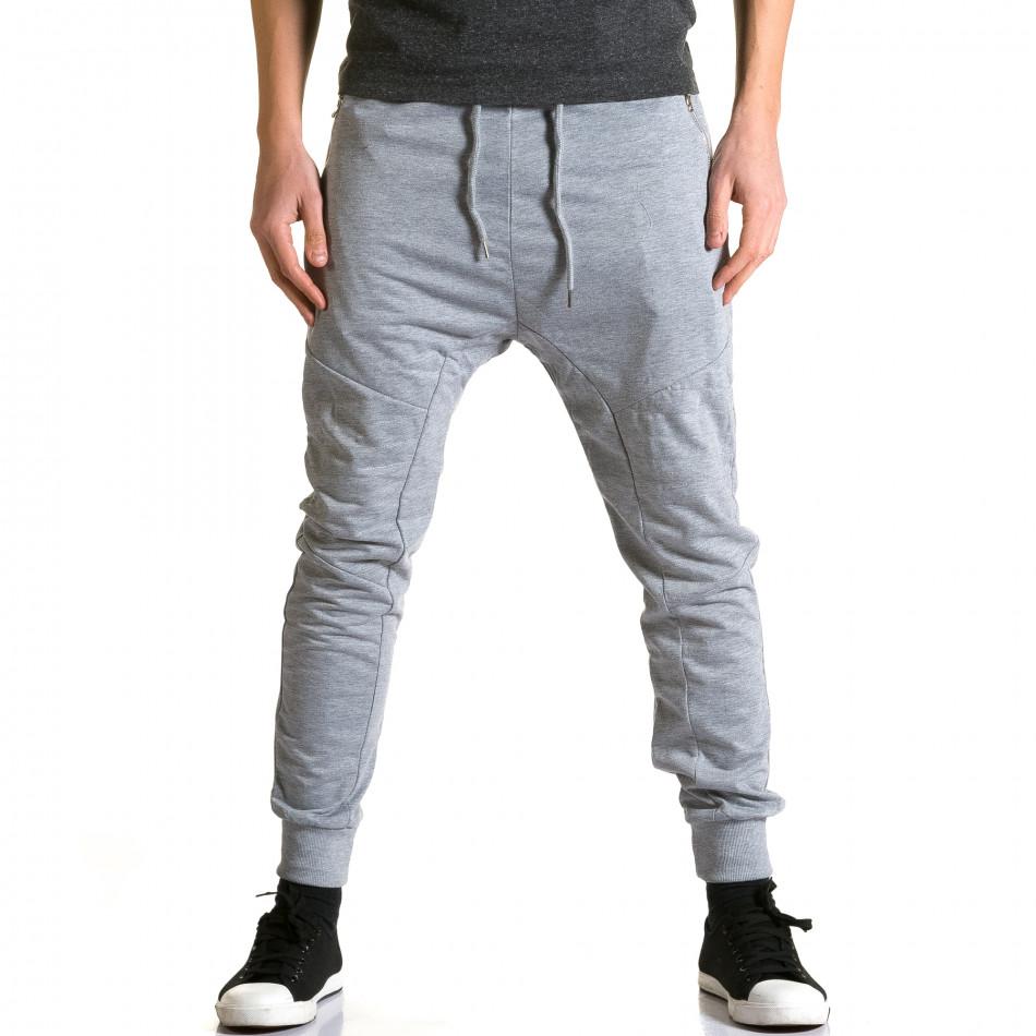 Мъжки светло сиви потури с ципове на предните джобове ca270115-1