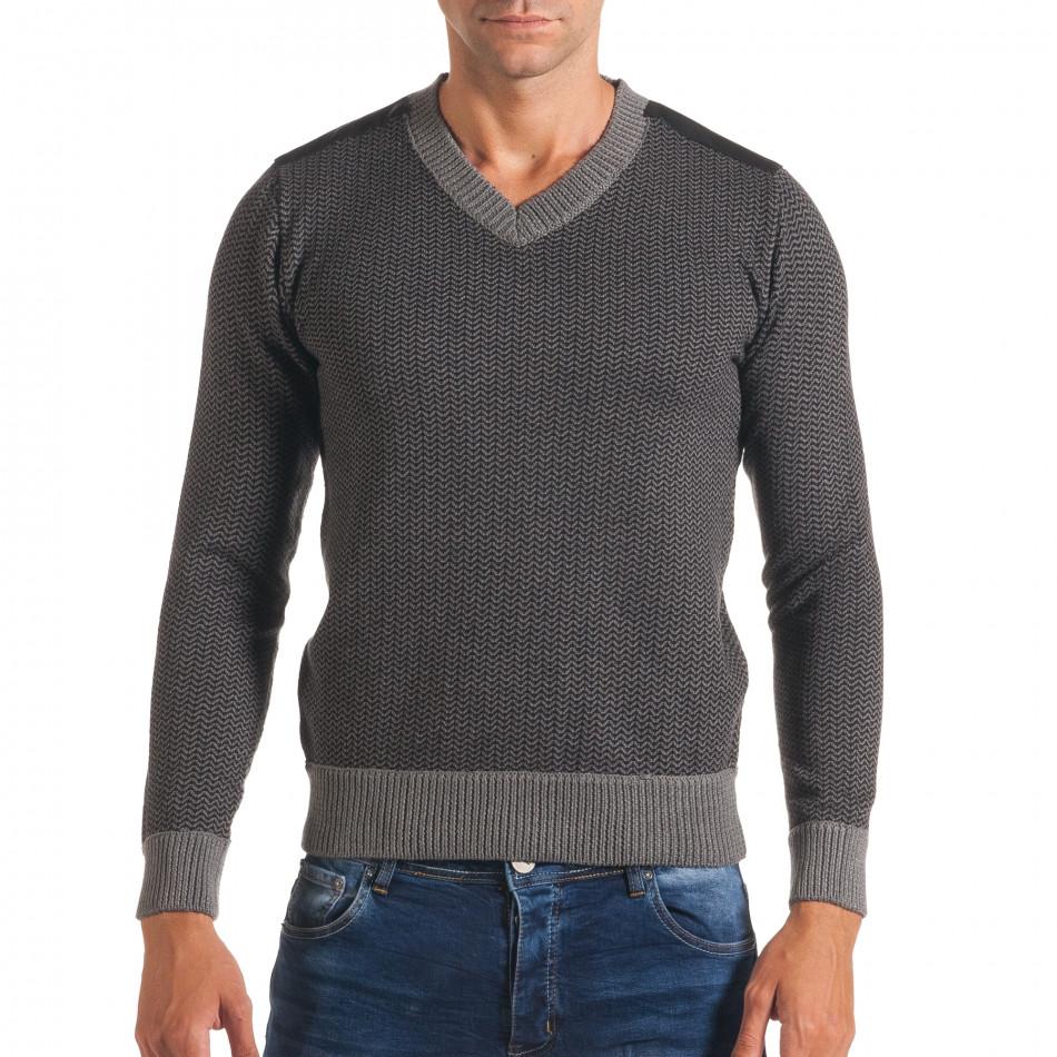 Мъжки тъмно сив пуловер с фигурална плетка it170816-6
