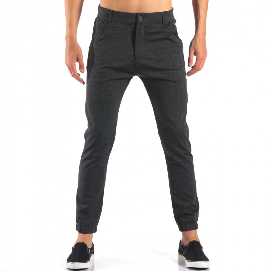 Мъжки тъмно сив панталон с еластични маншети на крачолите it160616-27