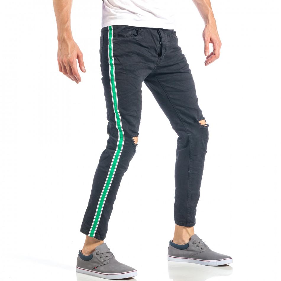 Мъжки черни скъсани дънки с бяло-зелени кантове it040518-7