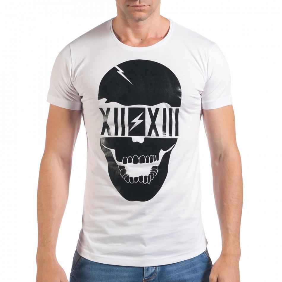 Мъжка бяла тениска с черен череп отпред il060616-74