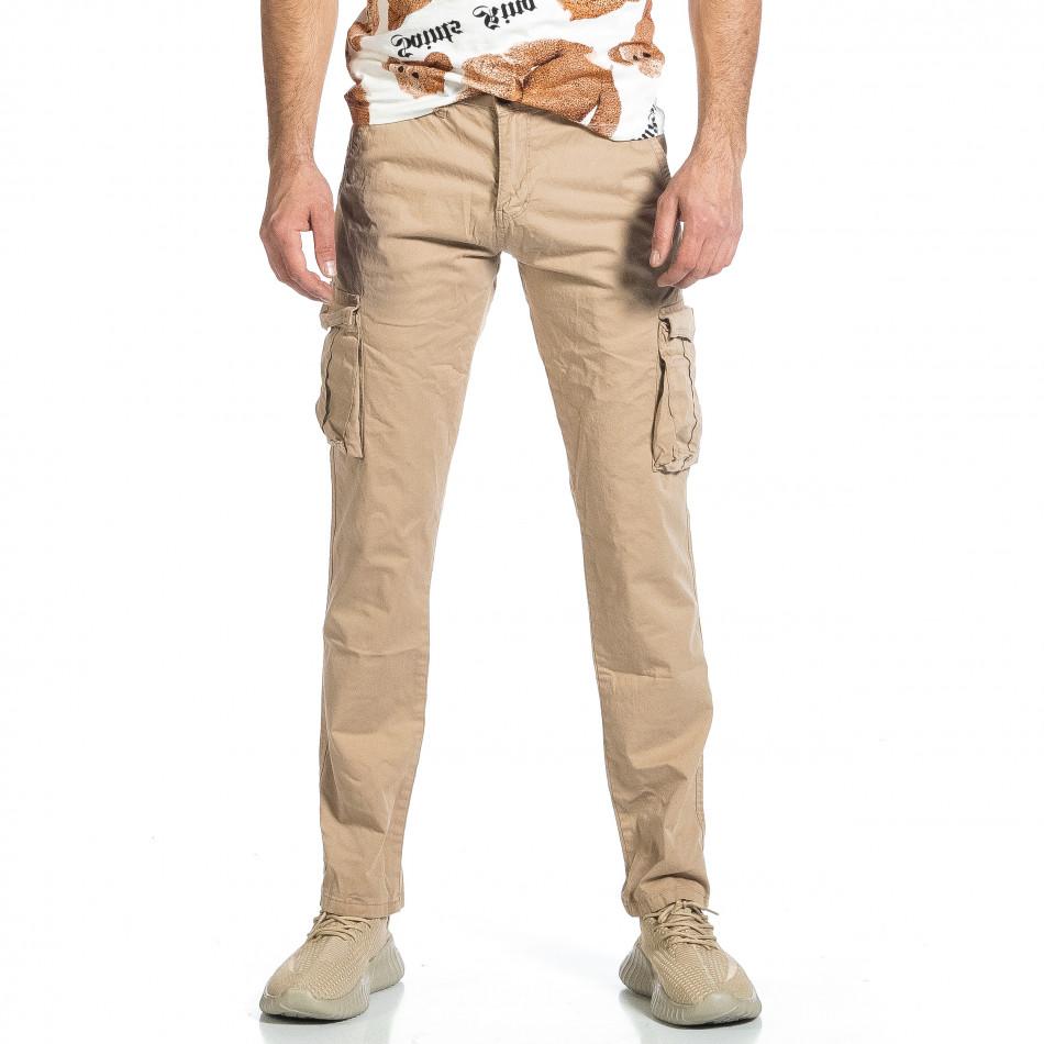 Мъжки бежов панталон с прави крачоли & Big Size tr270421-16