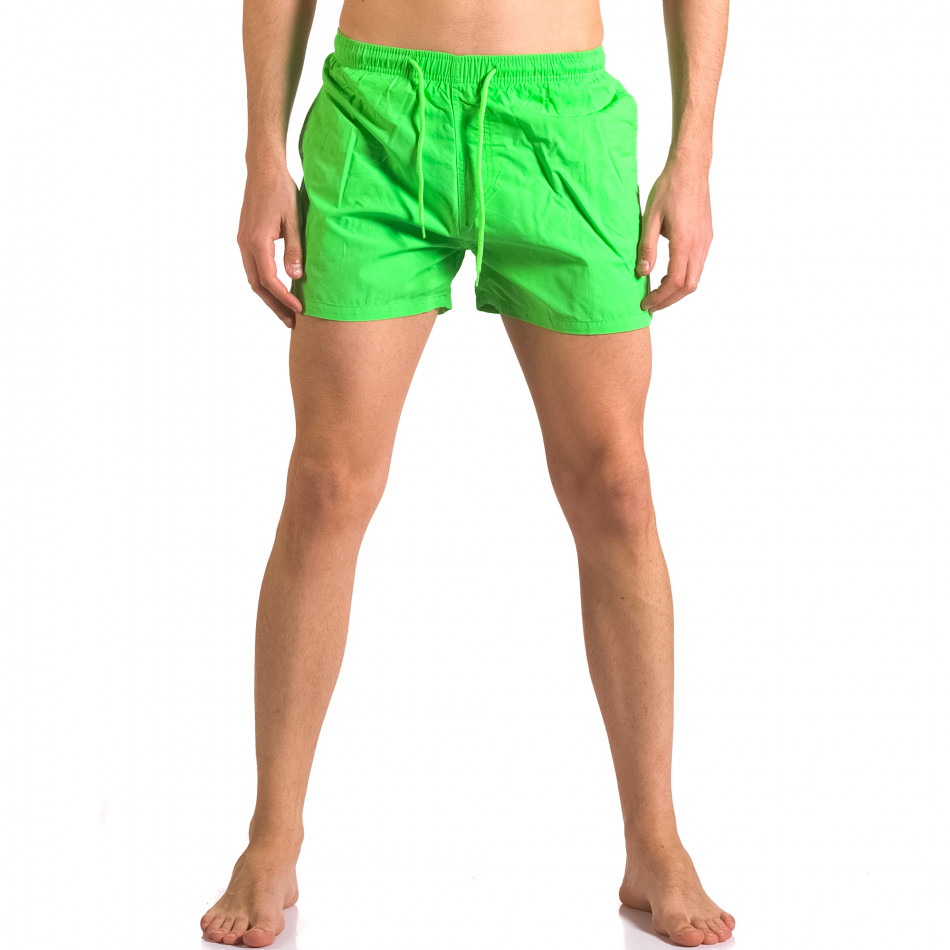 Зелени мъжки бански с джобове тип шорти ca050416-4