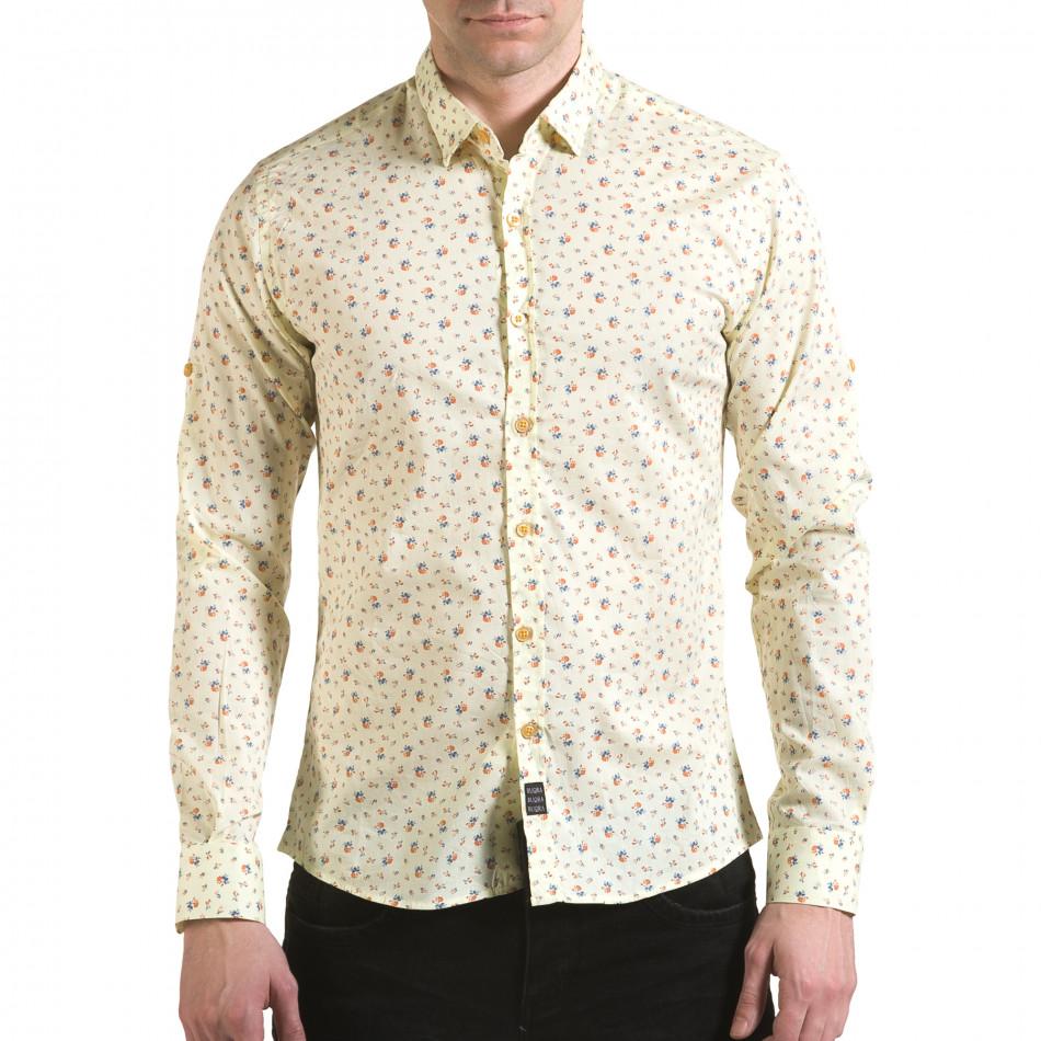 Мъжка жълта риза с малки цветя il170216-119