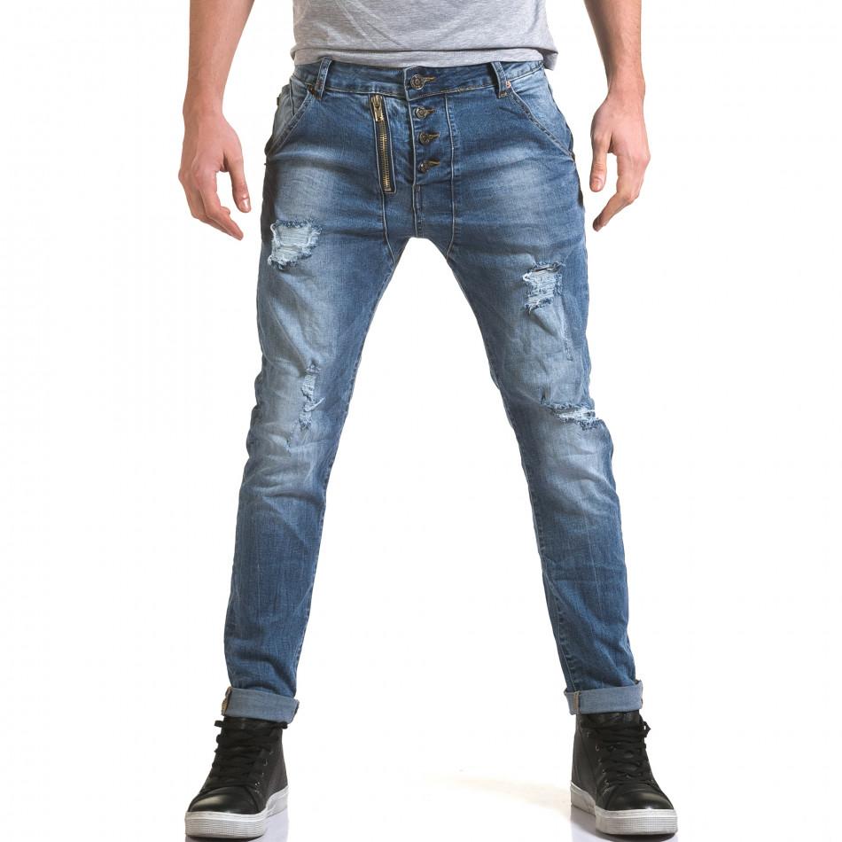 Мъжки светло сини дънки с декоративен цип отпред it090216-4