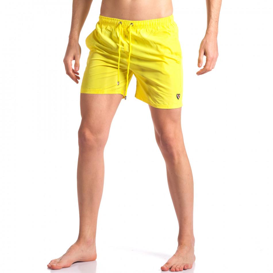Жълти мъжки бански с лого tsf250416-66
