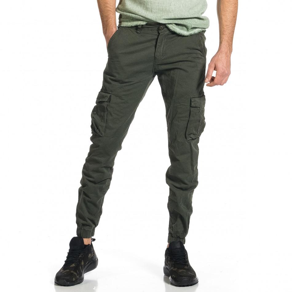 Мъжки зелен карго панталон Jogger & Big Size tr270421-11