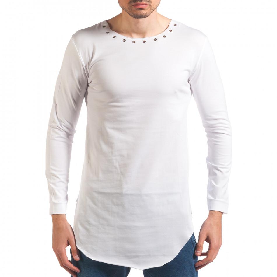 Мъжка бяла блуза с дълъг ръкав и метални капси it250416-79