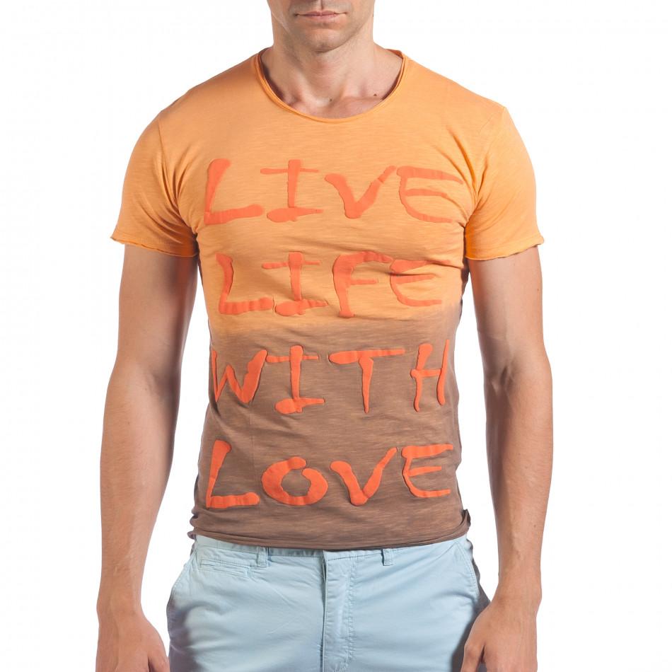 Мъжка оранжево-кафява тениска Live Life With Love il060616-35