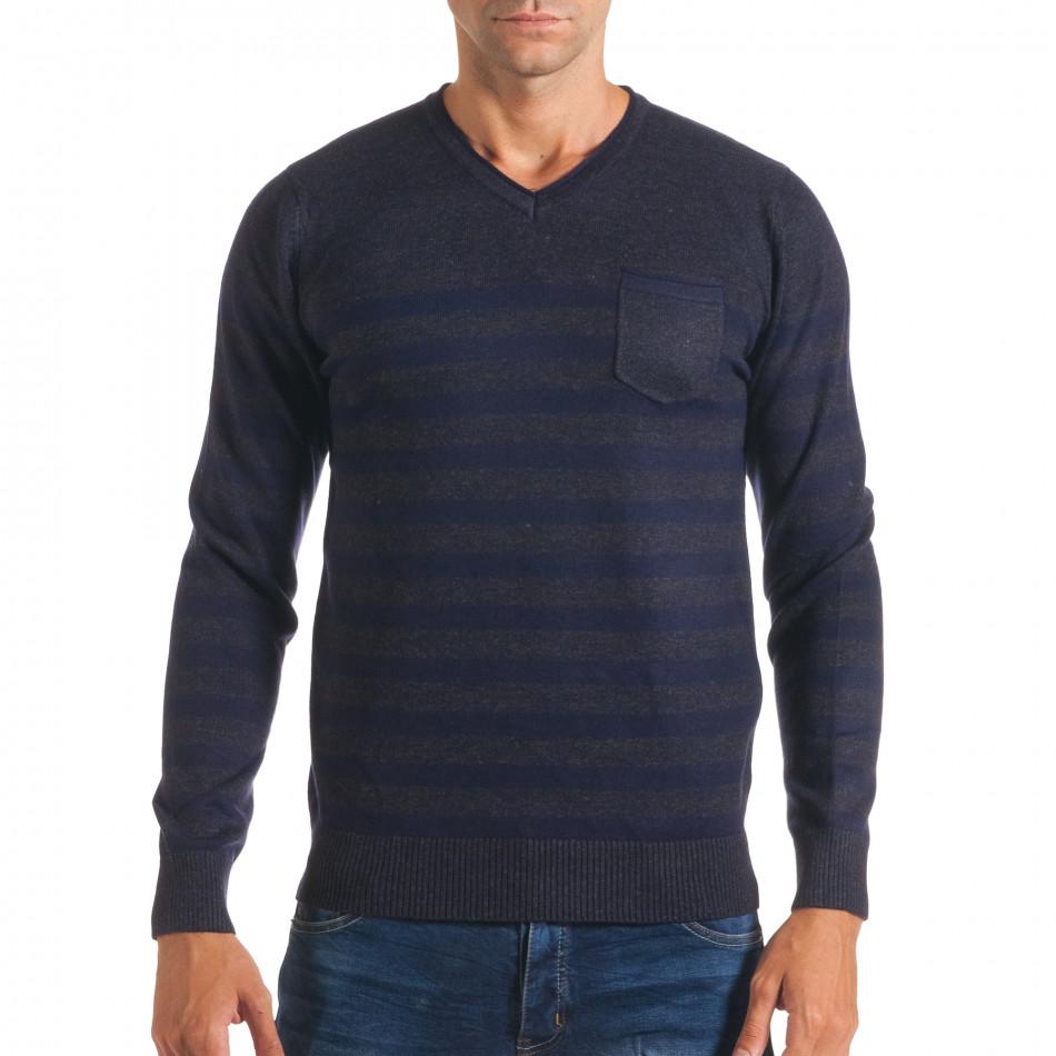 Мъжки синьо-сив пуловер със сини райета it170816-34