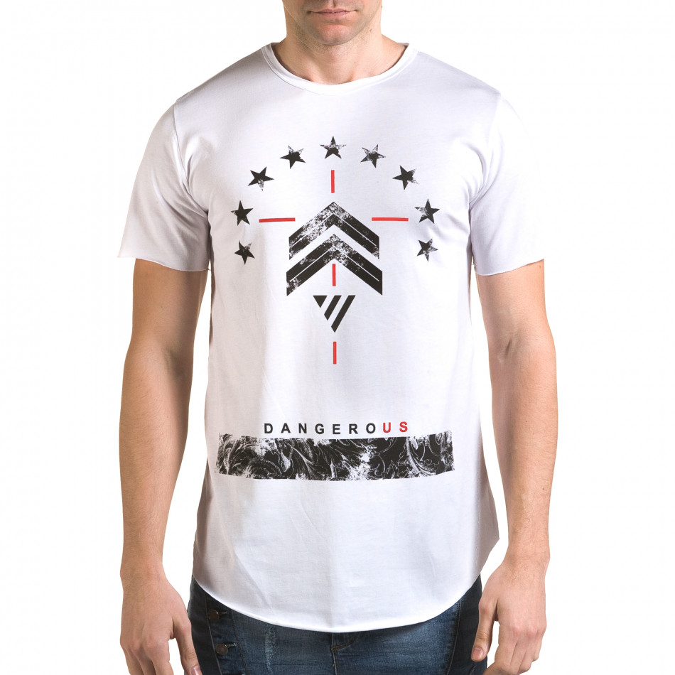 Мъжка бяла издължена тениска с принт звезди it090216-72