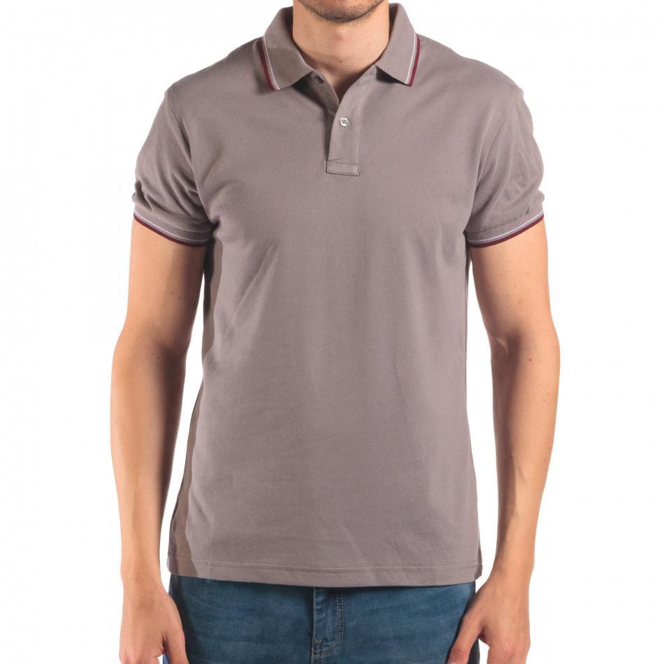 Мъжка сива тениска с яка с червен и бял кант it150616-33
