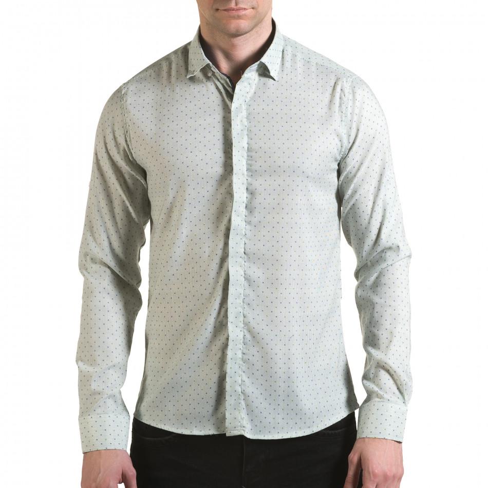 Мъжка зелена риза с малки детайли и скрити копчета il170216-115