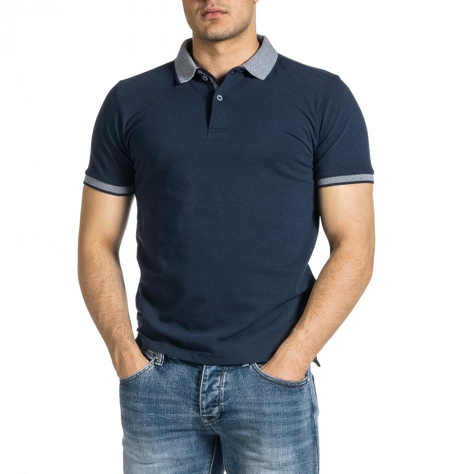 Мъжка тъмносиня тениска с яка меланж it150521-12