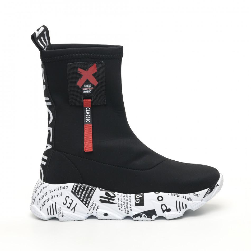 Черни дамски кецове чорап с детайл tr180320-26