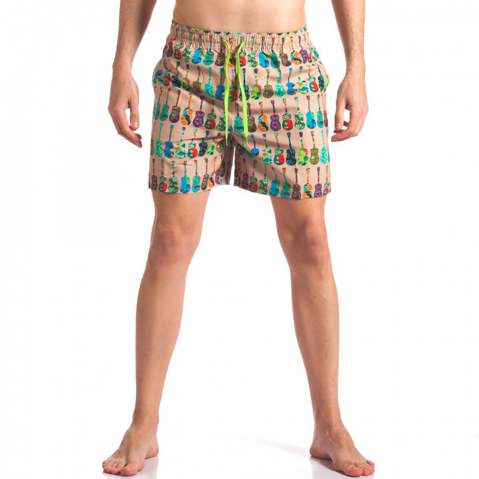 Мъжки бежови бански с яки шарки it260416-45