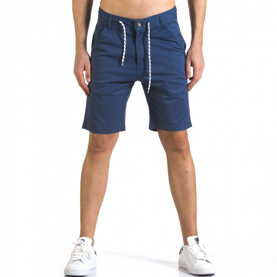 Мъжки сини къси панталони с връзки it110316-39