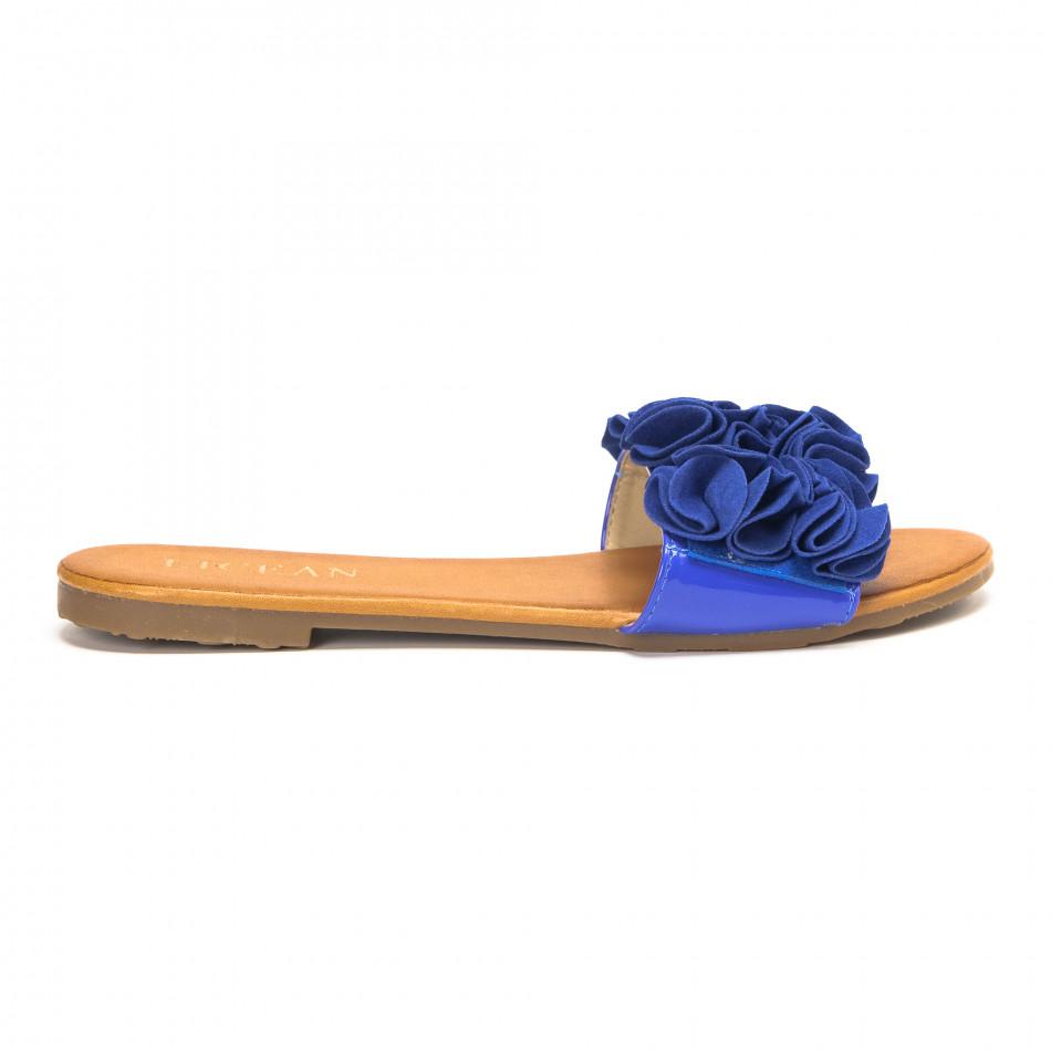 Дамски чехли с ефект на цветя в синьо it190618-24