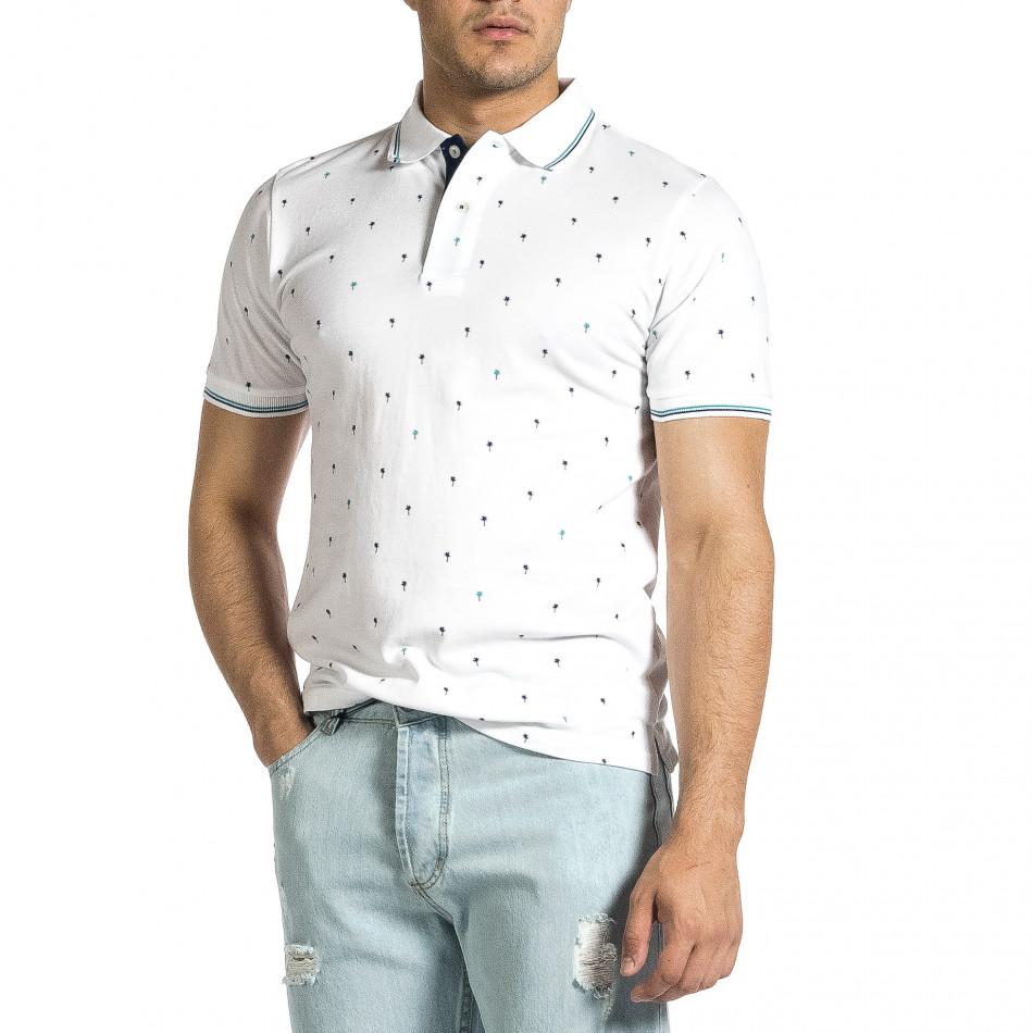 Мъжка бяла тениска пике с палми it150521-15