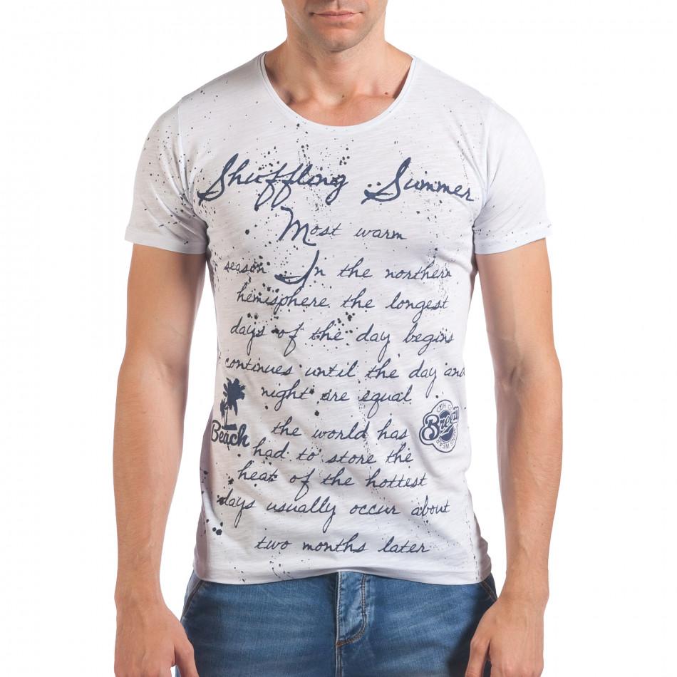 Мъжка бяла тениска с ръкописни надписи il060616-96