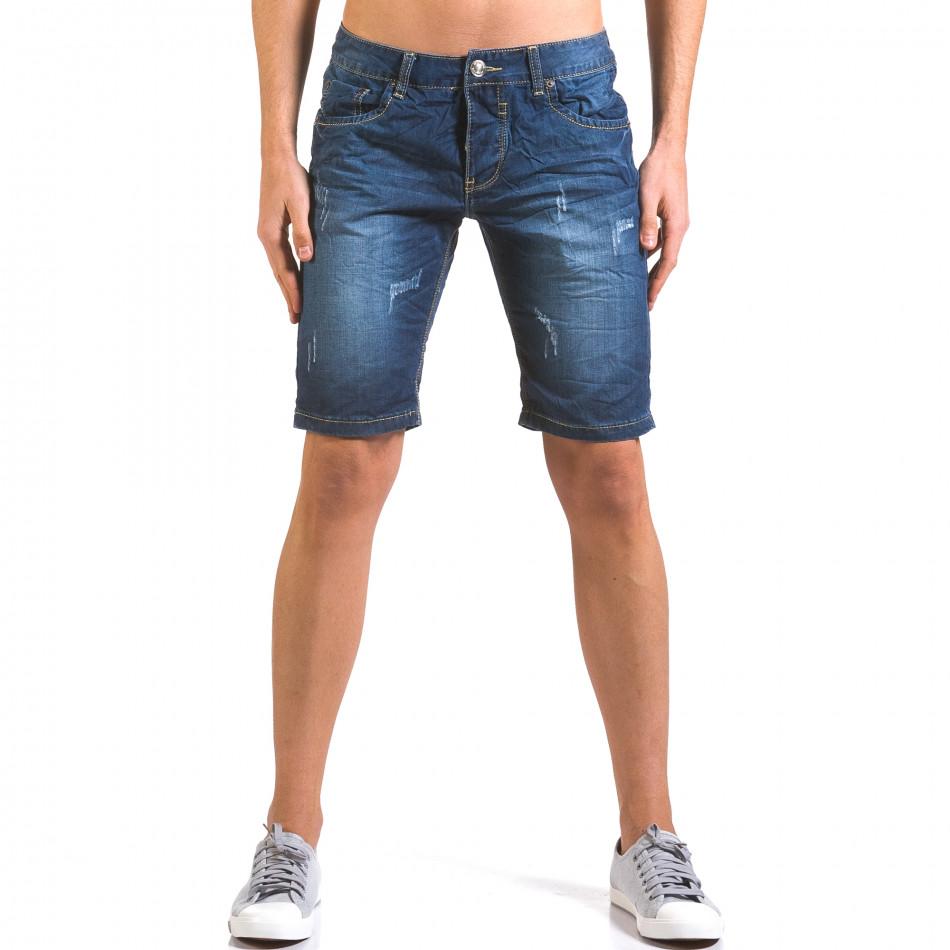 Мъжки тъмно сини къси дънки с малки скъсвания it160316-13