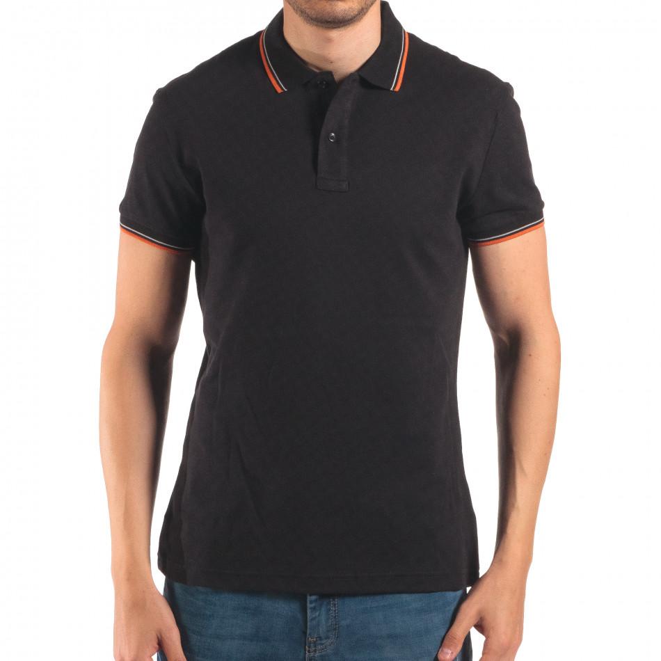 Мъжка черна тениска с яка с оранжев и бял кант it150616-32