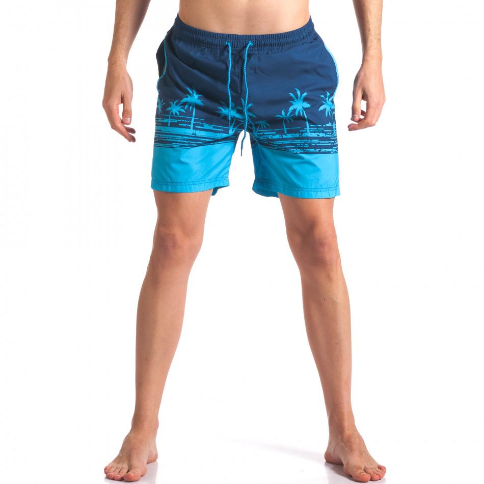 Мъжки сини бански с принт палми it250416-41